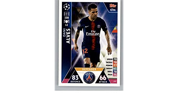 07bae40b4 Amazon.com  2018-19 Topps UEFA Champions League Match Attax  273 Dani Alves  Paris Saint-Germain Soccer Trading Card  Collectibles   Fine Art