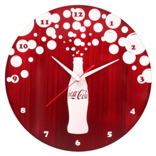 LumiSource Red and White Coca Cola Bursting Bubbles Metal Clock
