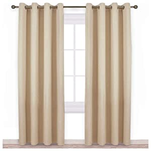 NICETOWN Bedroom Room Darkening Draperies - Home Fashion Thermal Insulated Solid Grommet Room Darkening Window Curtains for Hall Room (1 Pair, 52 Inch Wide by 84 Inch Long, Beige)