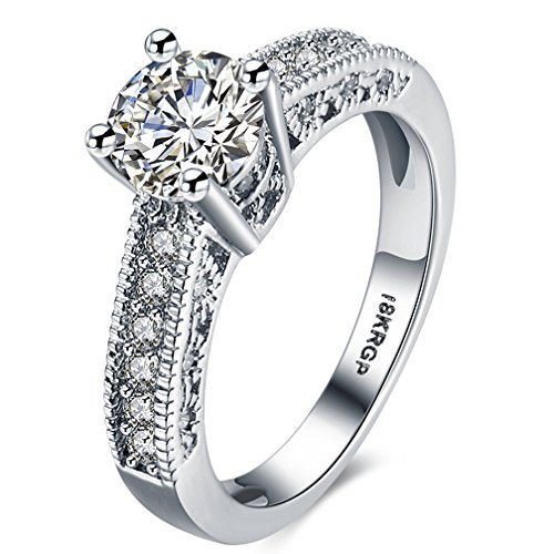FENDINA Womens Wedding Engagement Ring Classic Solitaire Enternity Love Promise Rings for Her Best Arrow Anniversary Rings - 18K White Gold Plated & CZ Crystal - FAR121
