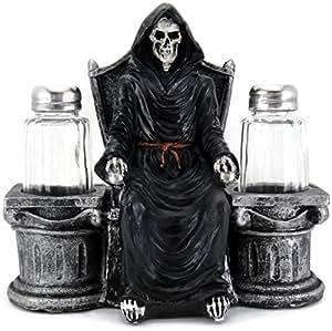 3D Resin Grim Reaper on Throne Salt & Pepper Shaker Set