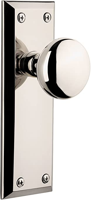 Polished Nickel Grandeur Grande Victorian Plate with Fifth Avenue Knob Double Dummy