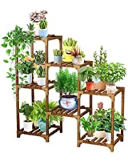 YGOCH Wood Plant Stand 7 Tiered, Indoor Outdoor Multiple Flower Pot Holder, Shelf Rack Multifunctional Storage Organizer for Patio Balcony Living Room Corner Decoration