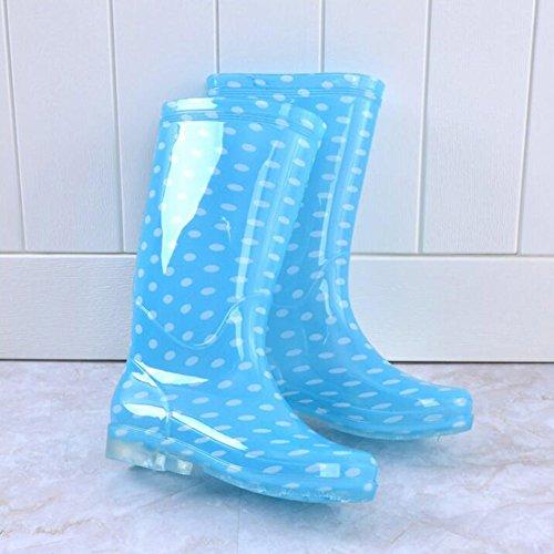hibote Frauen Regen Stiefel Weiblich Original Tall Warmwasser Lady Schuhe Antiskid Gummigaloschen Blauer Punkt 39EU