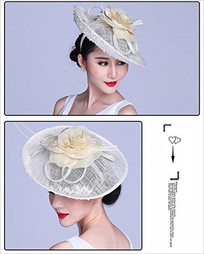 Style Cambric Retro Encaje Blanco Mujeres Para Hat Qxx Bowler Banquet Arroz color Summer Cáñamo Plumas Wedding British Headwear xCqYRqX