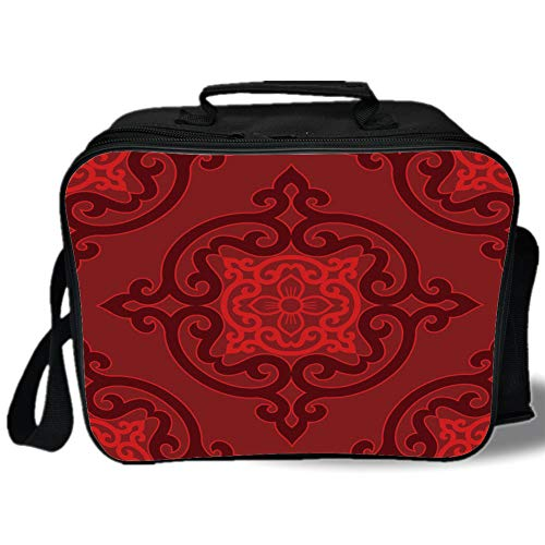 - Maroon 3D Print Insulated Lunch Bag,Chinese Authentic Damask Rosette Inspired Motif Antique Ancient Oriental Vibrant Decorative,for Work/School/Picnic,Maroon Scarlet