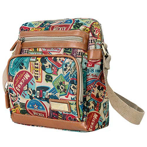 (ililily X Disney Vintage Mickey Mouse Pattern Multi-purpose Cross Body Bag (Medium, Brown))