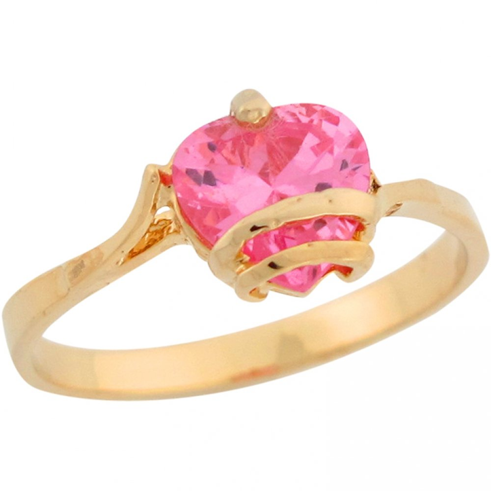 10k Yellow Gold Cute Heart Shape Pink CZ Simulated October Birthstone Love Ring