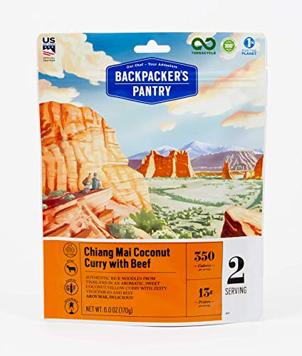 Backpacker's Pantry Chiang Mai Coconut Curry with Beef, 2 Servings Per Pouch, Freeze Dried Food, 13 Grams of Protein, Gluten Free