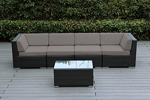 Ohana 5-Piece Outdoor Patio Wicker Furniture Conversation Set sunbrella taupe