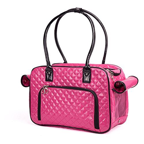 BETOP HOUSE Mirror Surface Faux Leather Tote Purse Dog and Pet Carrier Travel Bag, Pink by BETOP HOUSE