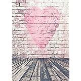 Daniu Photo Background Wooden Floor Children Photography Backdrops Heart Vinyl 5x7FT 150cm X 210cm Daniu-JP041