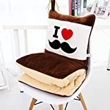 HOMEE Cartoon Afternoon Nap Pillows Quilt Car Pillow Quilt of Dual-Use Cushions Are Large Pure Cotton Air-Conditioning is Pillow Blankets,Love Beard,40X40Cm
