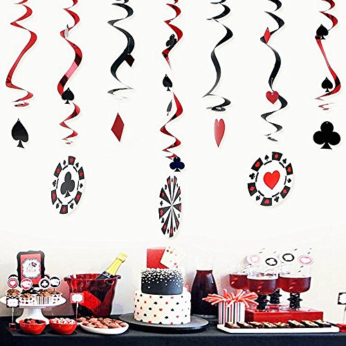 Pack of 9 Pieces Foil Swirls Casino Party Decorations Hanging Swirls Wall Background Ceiling Playing Card Swirls Poker Card Decor Party Supplies