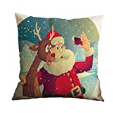 Nunubee Square Christmas Throw PillowCase Decor Sofa Cushion Cover Santa Claus