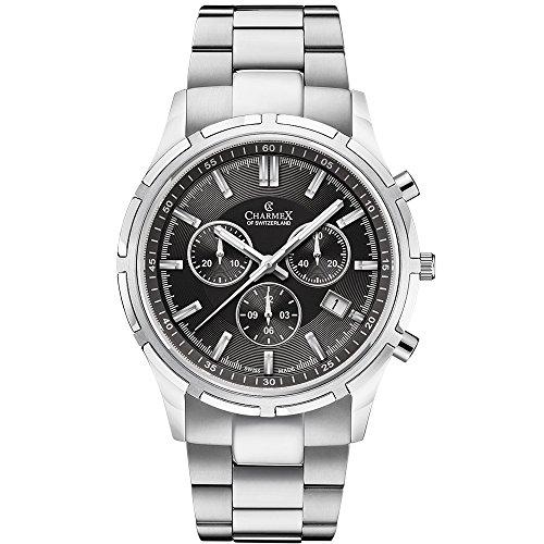 Charmex Men's Hockenheim 42mm Steel Bracelet & Case Sapphire Crystal Quartz Black Dial Analog Watch 2846