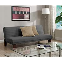 DHP Dillan Convertible Futon Couch Bed with Microfiber Upholstery and Wood Legs - Grey