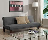 DHP Dillan Convertible Futon Couch Bed with Wood Legs, Grey Deal (Small Image)