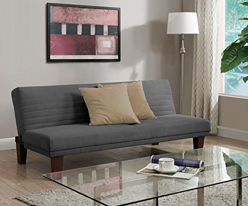 DHP Dillan Convertible Futon with Microfiber Upholstery, Grey (Futon Sofa Bed With Chaise)