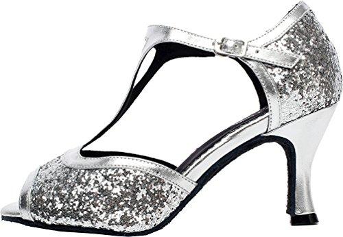 Abby Q-6205 Femmes Tango Latin Cha-cha Salle De Bal Chaton Talon T-bar Peep-toe Pu Danse-chaussures Argenté