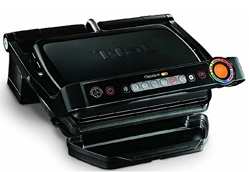 T-fal Glossy Black OptiGrill Indoor Electric Grill, 1800-watt