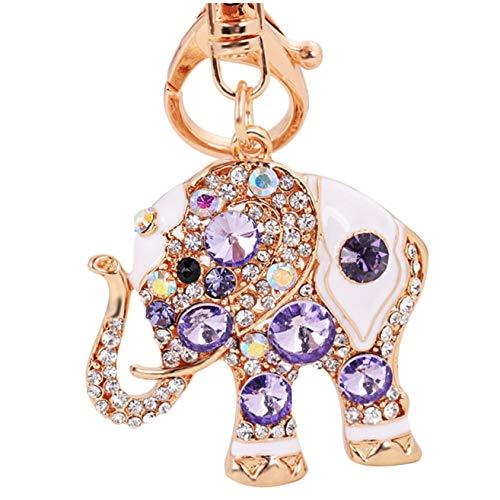 Elesa Miracle Girl Women Opal Rhinestone Elephant Keychain, Purse Bag Charm, Handbag Accessories, Car Key Chain (Purple) (Purple Rhinestone Charm)
