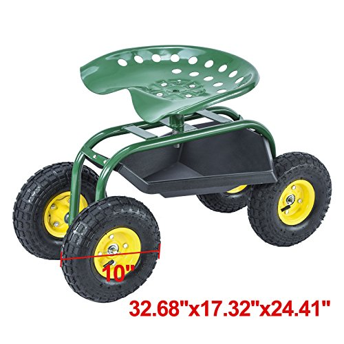 Kissemoji Green Rolling Garden Cart With 360 Degree Swivel Seat Tray Outdoor Carts Bins