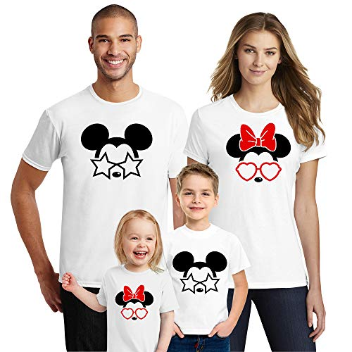 Natural Underwear Family Trip and Mouse with Glasses Stars and Heart Men Women Kids Youth Boys Girls Crew Neck T Shirts White Kids-Boys 4T ()