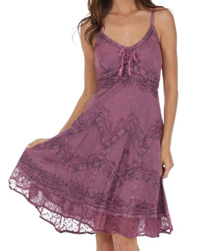 Sakkas Stonewashed Rayon Embroidered Adjustable Spaghetti Straps Mid Length Dress