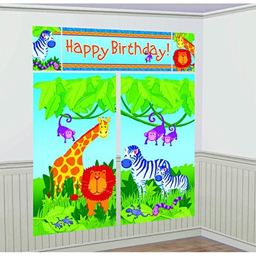amscan Colorful Jungle Animals Birthday Party Scene Setters, Multi ()