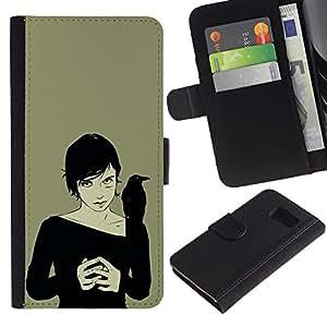 Be Good Phone Accessory // Caso del tirón Billetera de Cuero Titular de la tarjeta Carcasa Funda de Protección para Samsung Galaxy S6 SM-G920 // Crown Woman Black Witch Art Drawing Magic