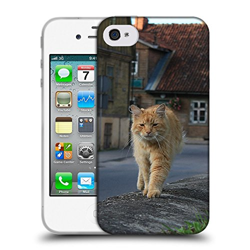 Just Phone Cases Coque de Protection TPU Silicone Case pour // V00004181 Auburn vieille rue pelucheux chat // Apple iPhone 4 4S 4G
