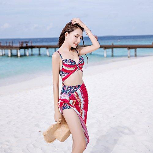 XIAOHUAHUA Maillot Femme Jupe Fendue En Trois Pièces Bikinis Beach Voile Petite Poitrine Recueillir Petite Source D'Eau Chaude Parfumée