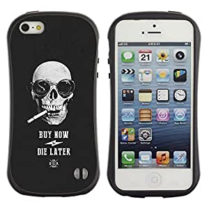 Suave TPU GEL Carcasa Funda Silicona Blando Estuche Caso de protección (para) Apple Iphone 5 / 5S / CECELL Phone case / / Buy Now Die Later Skull Cool Shopping /