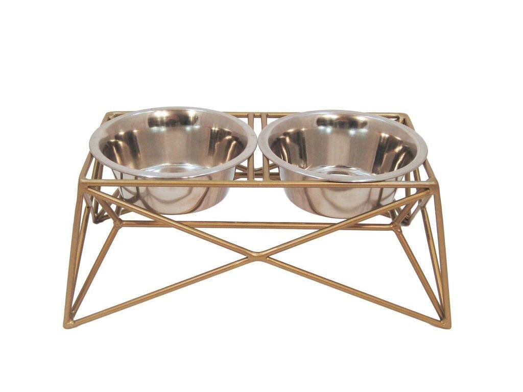 Martin|Deutschman Wire Dog Bowl Feeders, Gold