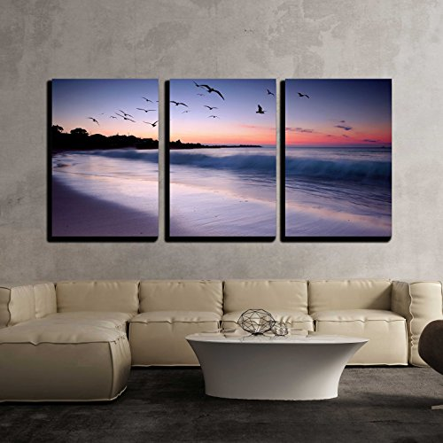"wall26 - 3 Piece Canvas Wall Art - Waves Crashing on Beach at Sunset with Birds Flying by - Modern Home Decor Stretched and Framed Ready to Hang - 24""x36""x3 Panels"