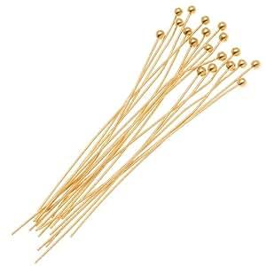 Beadaholique 20-Piece Ball Head Pins, 24-Gauge, 2-Inch, 22K Gold