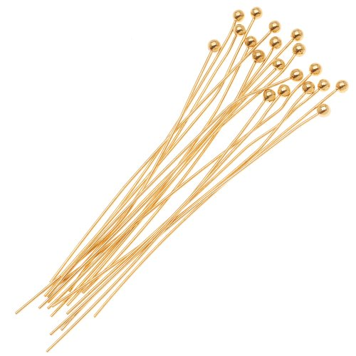 Beadaholique 10-Piece Ball Head Pins, 1.5mm, 1.5-Inch, 14K Gold