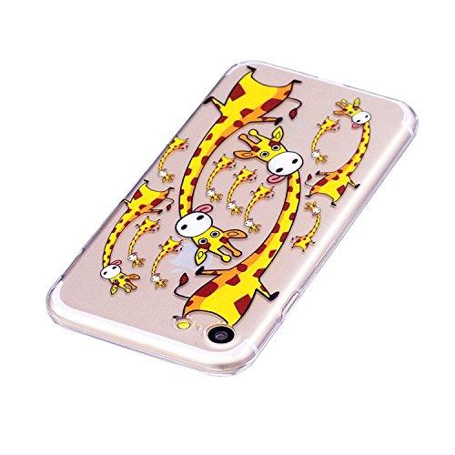 iPhone 7 / iPhone 8 Hülle, Hozor Niedlich Persönlichkeit Mode Serie Ultra Dünn TPU Bumper Case Kratzfest Backcover Schutzhülle Transparent Schale Flexible Weiche Silikonhülle Crystal Klar Handyhülle - Süße Giraffe