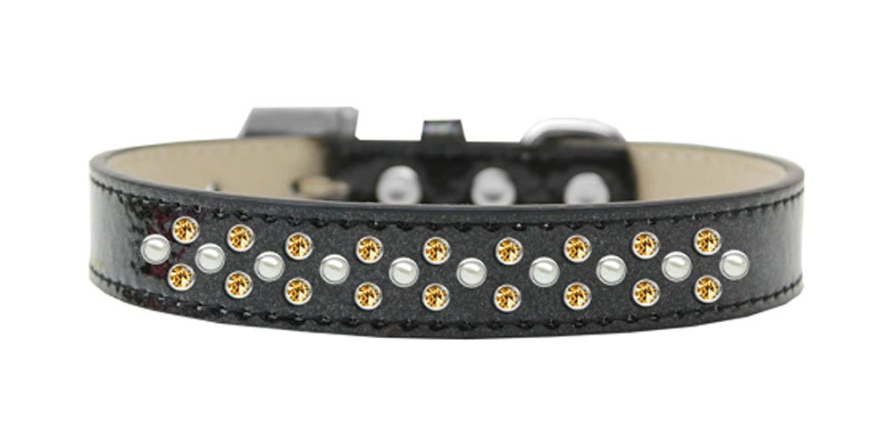 Black Size 12 Black Size 12 Mirage Pet Products Sprinkles Ice Cream Dog Collar with Pearl and Yellow Crystals, Size 12, Black