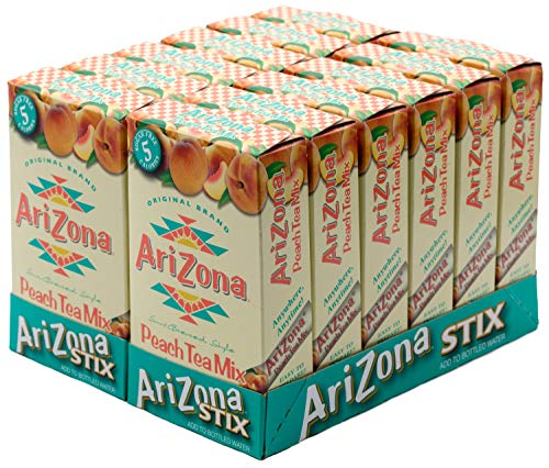 Arizona Peach Iced Tea Stix Sugar Free, 10 Count Per Box (Pack of 12), Low Calorie Single Serving Drink Powder Packets, Just Add Water for a Deliciously Refreshing Iced Tea Beverage (Arizona Diet Iced Tea)