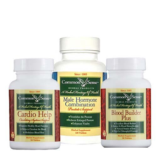 Male Circulation Support: Male Hormone Combo (120)/Blood Builder Plus (120)/Cardio Help (120) by Common Sense Herbal Products