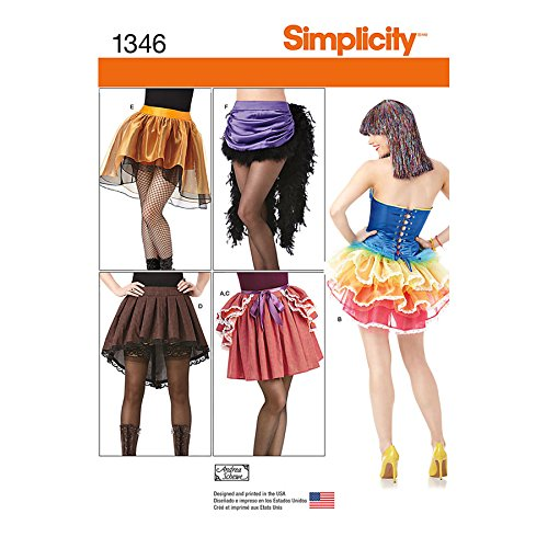 Simplicity Creative Patterns 1346 Misses' Costume Skirts and Bustles Sewing Patterns, Size R5 (14-16-18-20-22)
