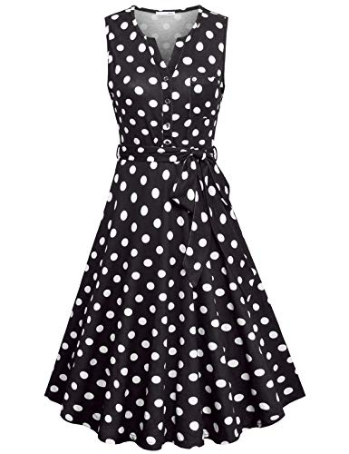Messic Polka Dot Dress for Women, Button Down Dress for Women Casual Summer Knee Length Dot-Print Midi Dress Spring Sleeveless Tank Dresses Basic V Neck Shirtdress with Pocket Black Dot -
