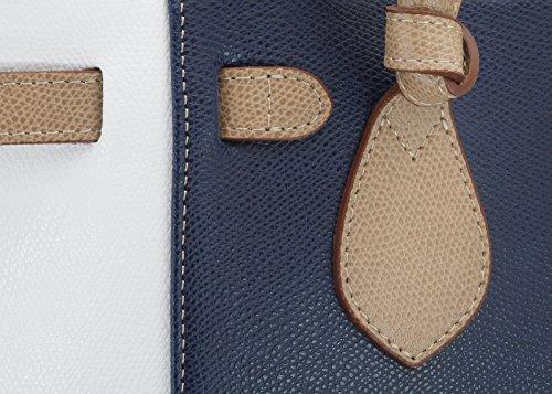 StilGut Marina Serie, Shopper aus echtem italienischen Leder, blau/weiß/beige