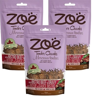(3 Pack) Zoe Bistro Beef and Gravy Dog Treats 5.2 Ounces Each