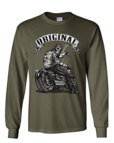 - Original Biker Skull Long Sleeve T-Shirt Ride or Die Route 66 Motorcycle MC Tee Military Green L