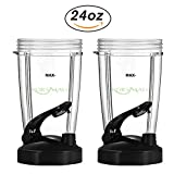 24 oz Tall Cup with Black Flip Lid for Nutribullet by KORSMALL,2 Pack