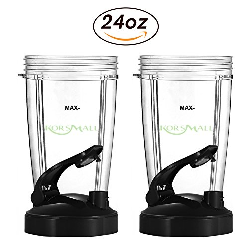 24 oz Tall Cup with Black Flip Lid for Nutribullet by KORSMALL,2 Pack by KORSMALL