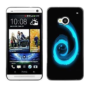 TopCaseStore / la caja del caucho duro de la cubierta de protección de la piel - Cool Abstract Blue Spiral Eye - HTC One M7